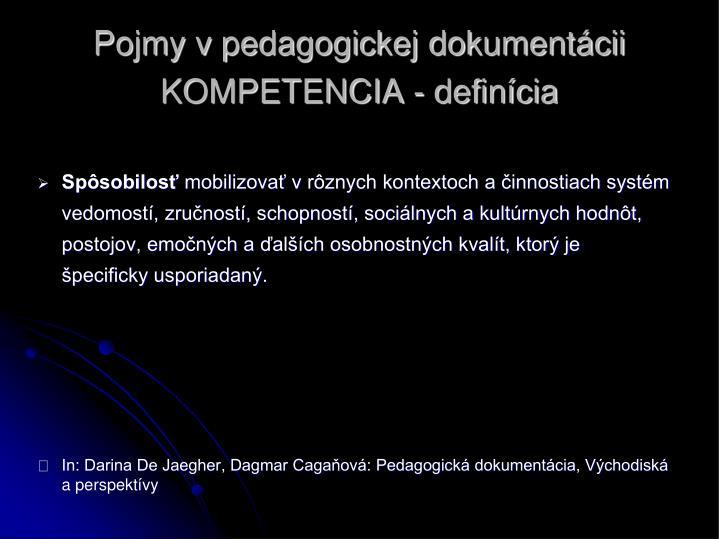 Pojmy v pedagogickej dokumentácii