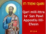 it tieni qari qari mill ittra ta san pawl appostlu lill efesin ef 3 2 6