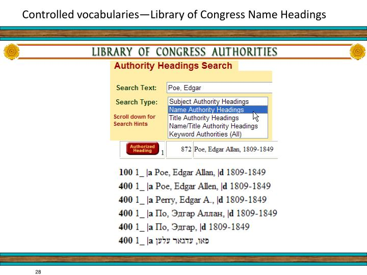 Controlled vocabularies—Library of Congress Name Headings