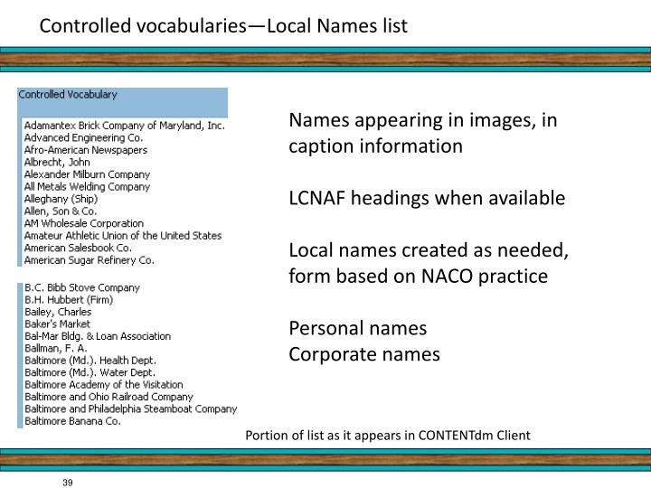Controlled vocabularies—Local Names list