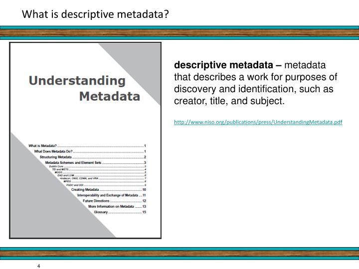 What is descriptive metadata?