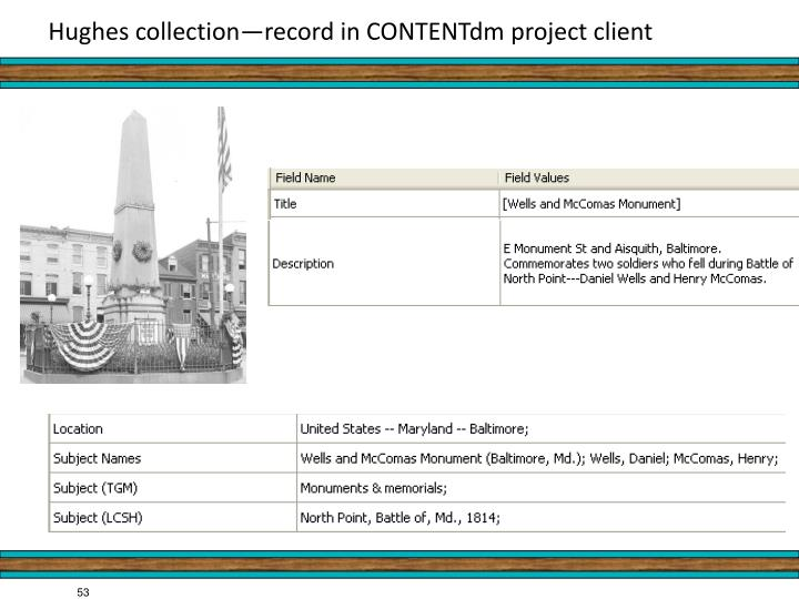 Hughes collection—record in CONTENTdm project client