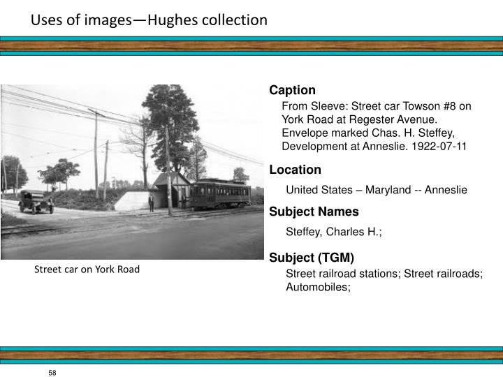 Uses of images—Hughes collection