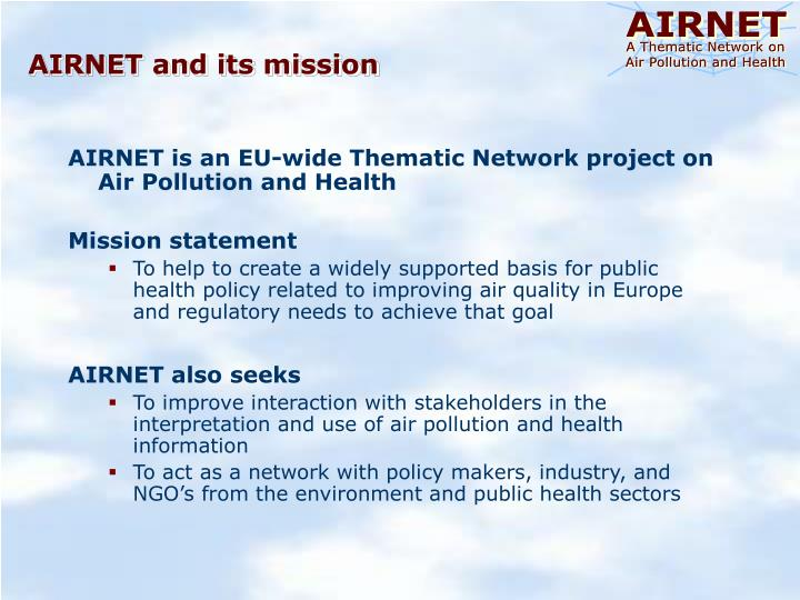 AIRNET and its mission