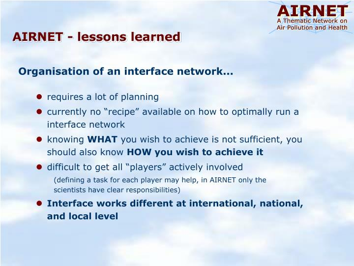 AIRNET - lessons learned