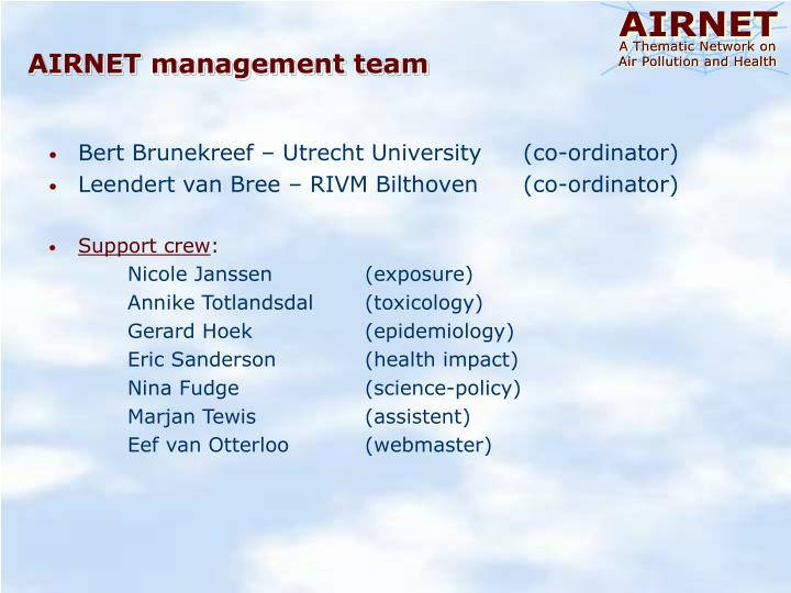 AIRNET management team