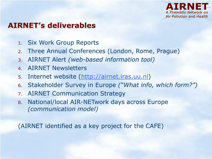 AIRNET's deliverables