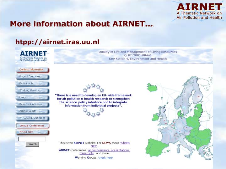 More information about AIRNET...