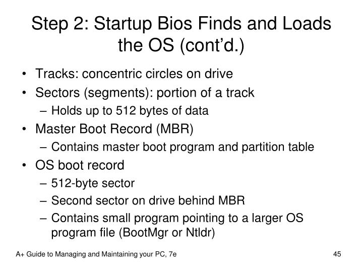 Step 2: Startup Bios Finds and Loads the OS (cont'd.)