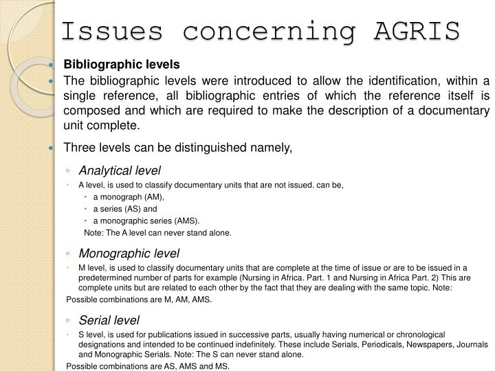 Issues concerning AGRIS