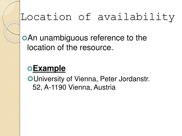 Location of availability