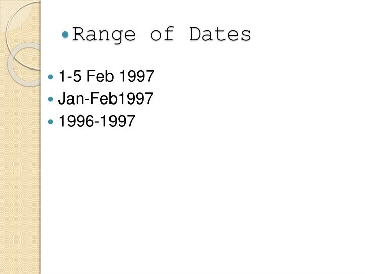 Range of Dates