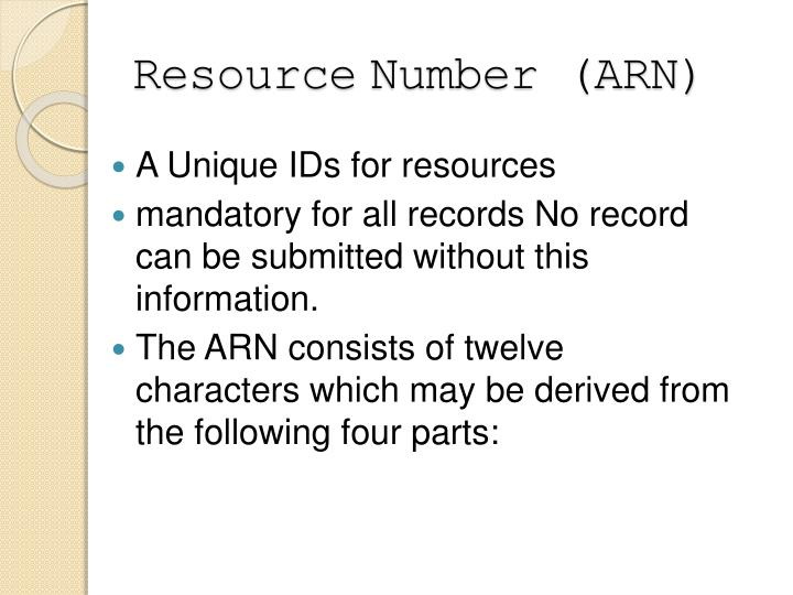 Resource number arn