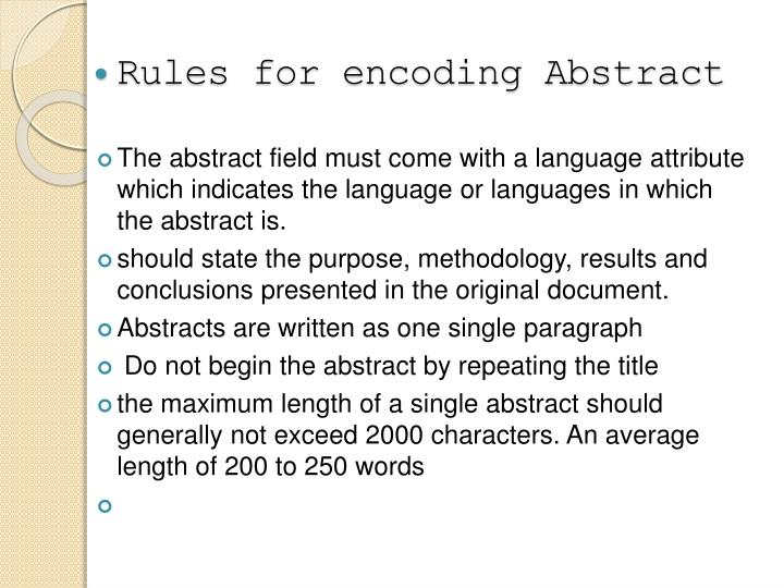 Rules for encoding Abstract