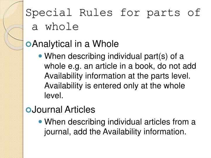 Special Rules for parts of a whole