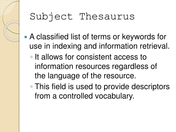 Subject Thesaurus