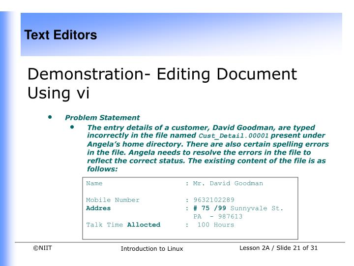 Demonstration- Editing Document Using vi