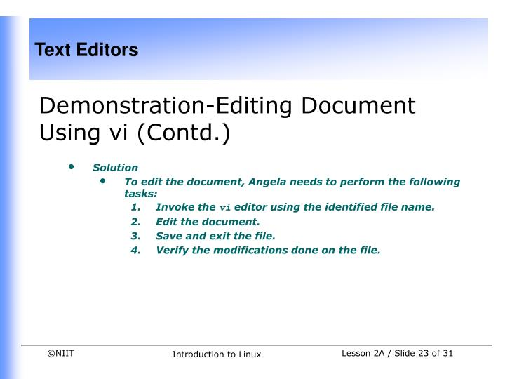 Demonstration-Editing Document Using vi (Contd.)