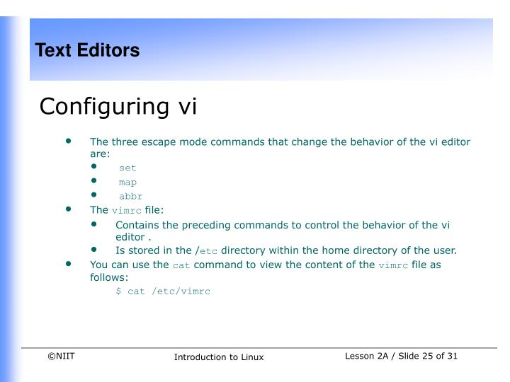 Configuring vi