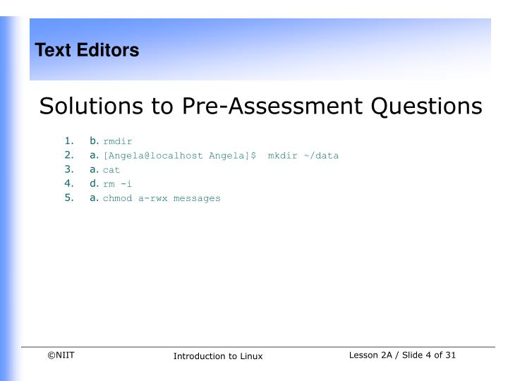 Solutions to Pre-Assessment Questions