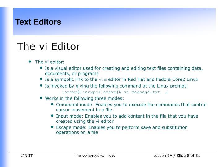 The vi Editor
