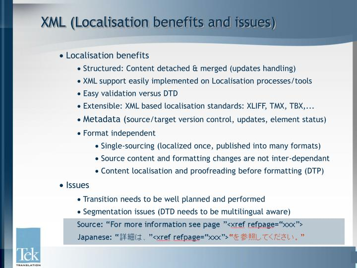 XML (Localisation benefits and issues)