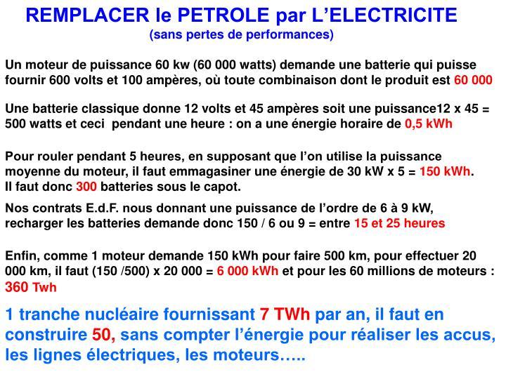 REMPLACER le PETROLE par L'ELECTRICITE