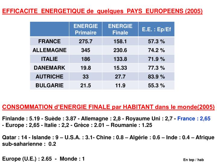 EFFICACITE  ENERGETIQUE de  quelques  PAYS  EUROPEENS (2005)