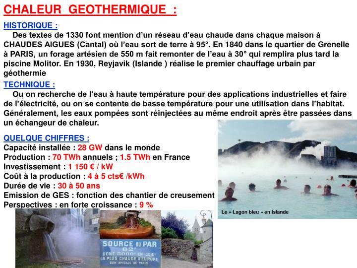 CHALEUR  GEOTHERMIQUE  :