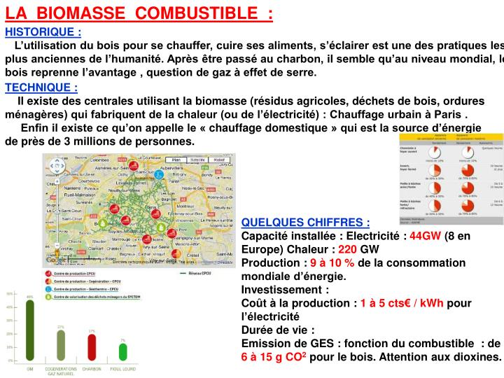 LA  BIOMASSE  COMBUSTIBLE  :