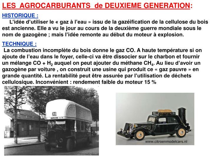 LES  AGROCARBURANTS  de DEUXIEME GENERATION
