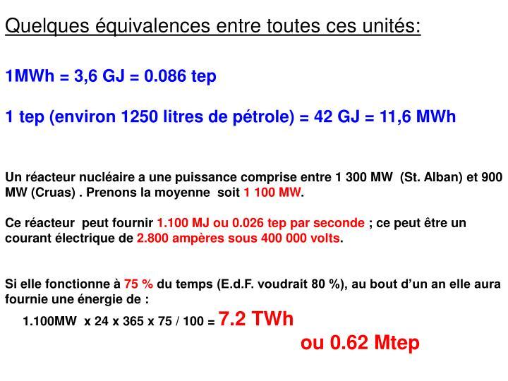 Quelques équivalences entre toutes ces unités: