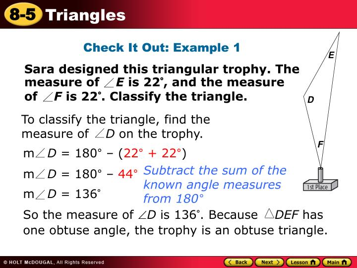 To classify the triangle, find the measure of