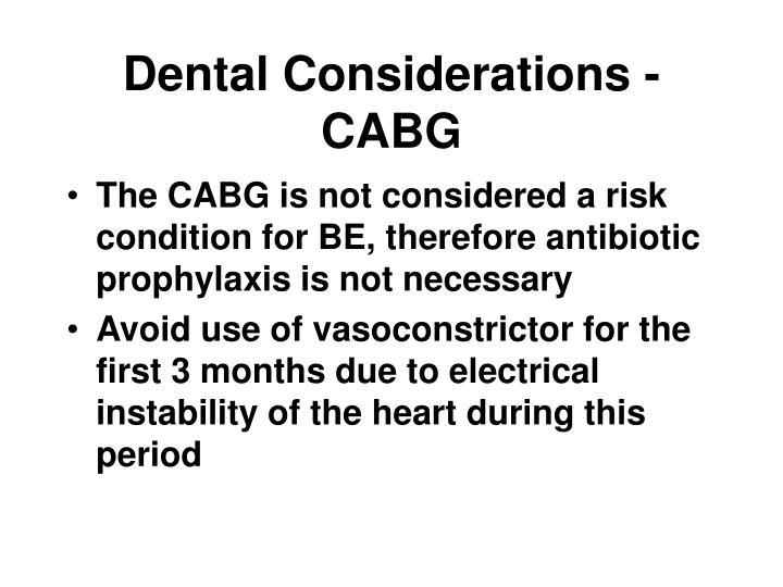 Dental Considerations - CABG