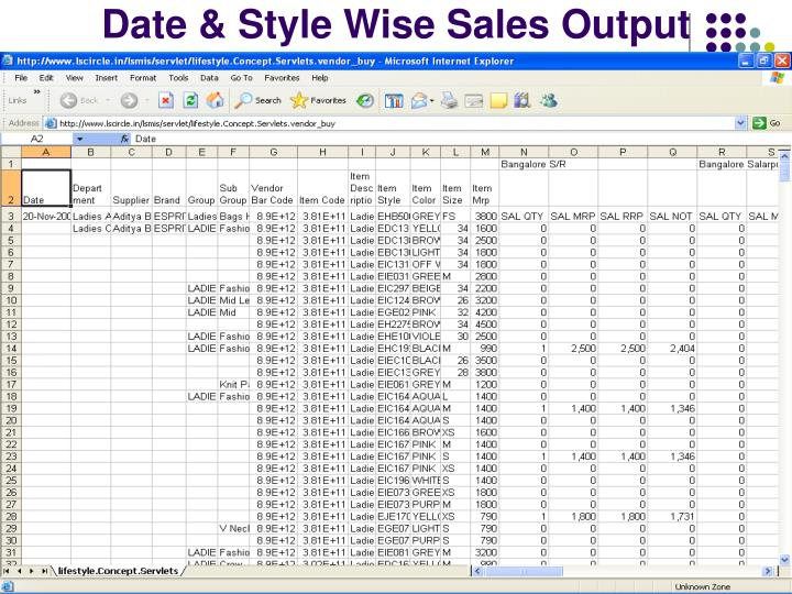 Date & Style Wise Sales Output