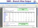 smr branch wise output