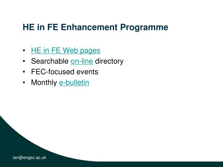 HE in FE Enhancement Programme