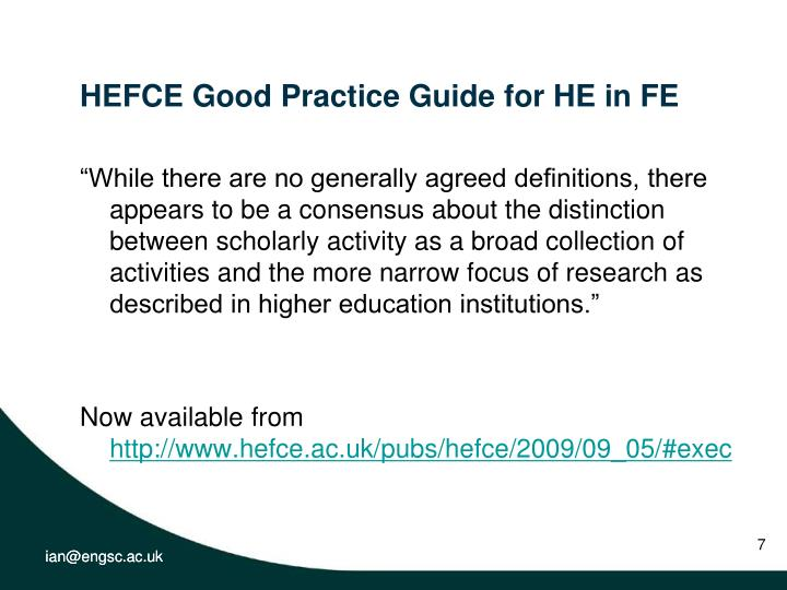 HEFCE Good Practice Guide for HE in FE
