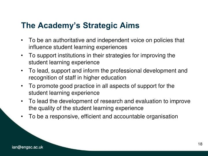 The Academy's Strategic Aims