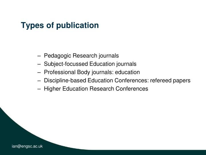 Types of publication