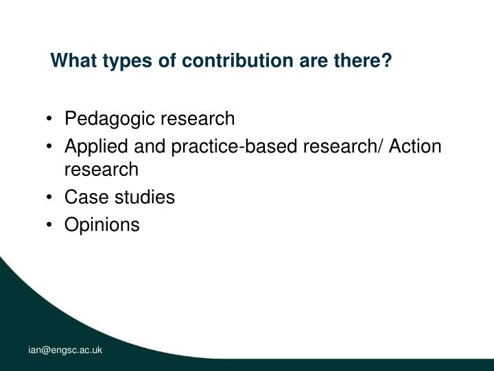 What types of contribution are there?