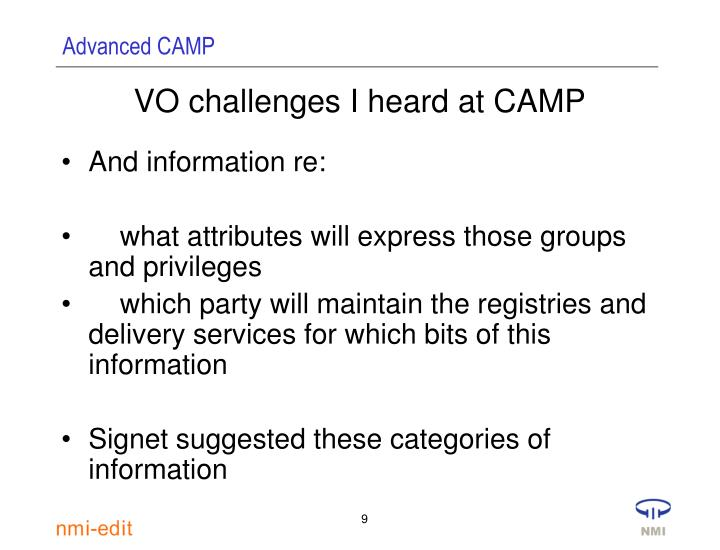 VO challenges I heard at CAMP