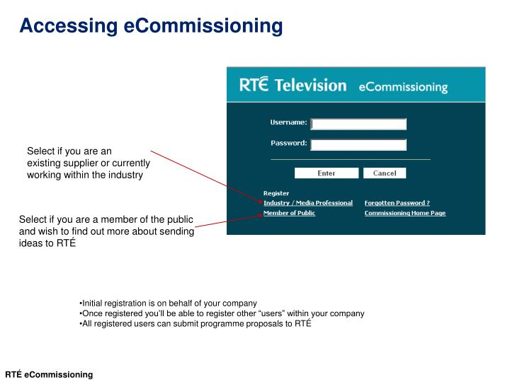 Accessing eCommissioning