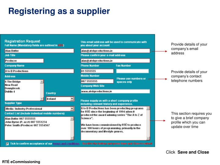 Registering as a supplier