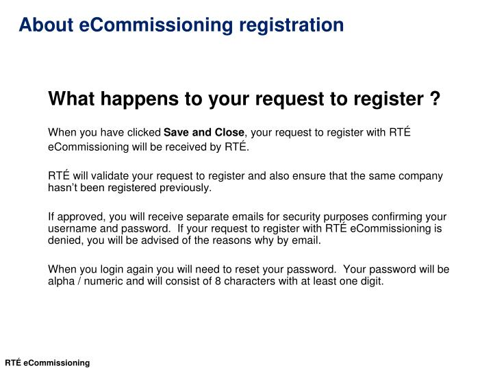 About eCommissioning registration