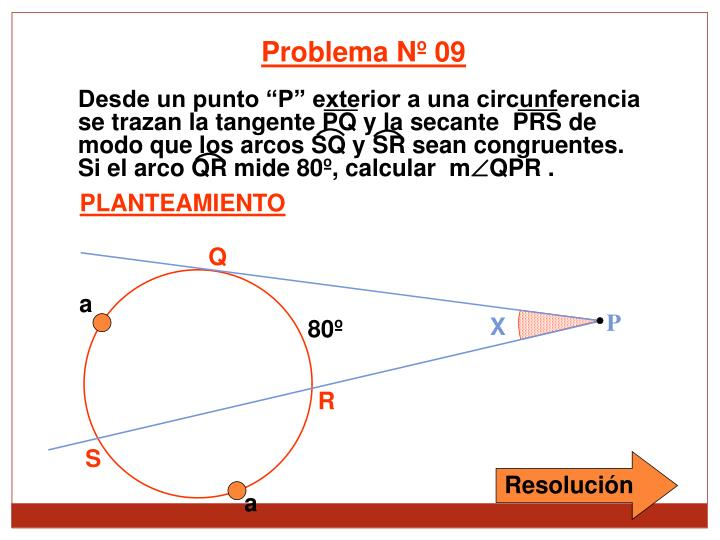 Desde un punto P exterior a una circunferencia se trazan la tangente PQ y la secante  PRS de modo que los arcos SQ y SR sean congruentes.  Si el arco QR mide 80, calcular  m