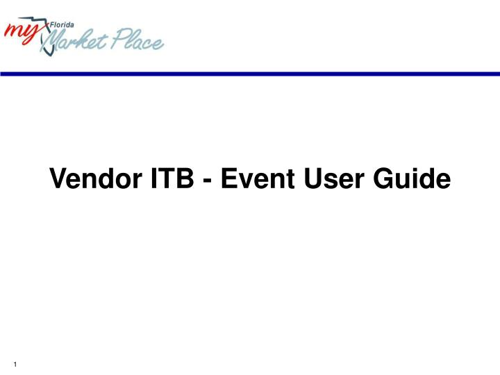 Vendor ITB - Event User Guide
