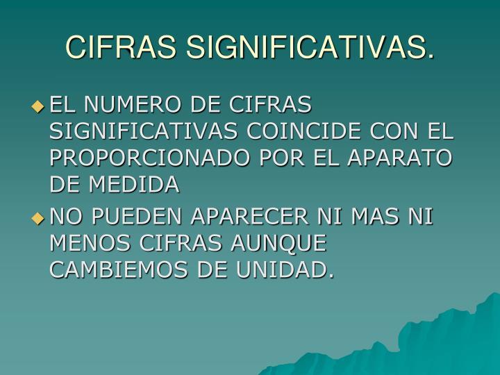 CIFRAS SIGNIFICATIVAS.