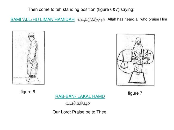Then come to teh standing position (figure 6&7) saying:
