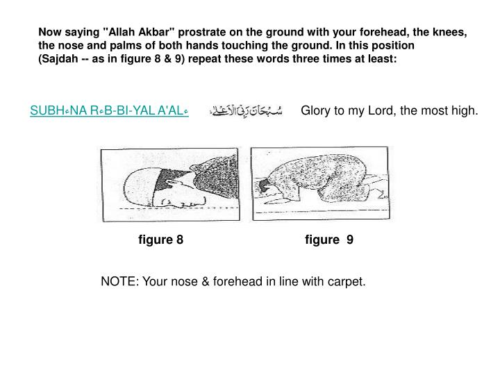 """Now saying """"Allah Akbar"""" prostrate on the ground with your forehead, the knees,"""